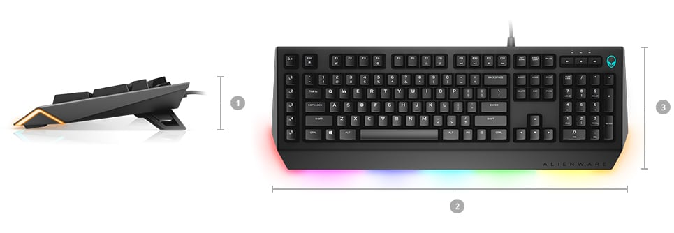 Alienware advanced gaming keyboard AW568 - Dimensions & Weight