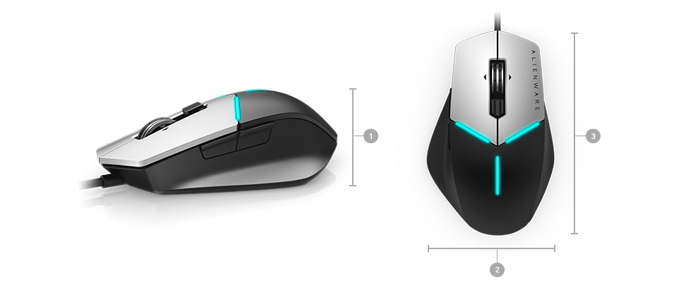 Alienware advanced gaming mouse AW558 - Dimensions & Weight