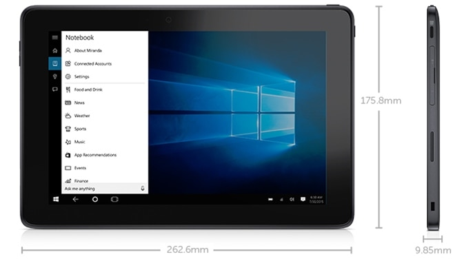 Yeni Venue 10 Pro Tablet: Boyutlar ve ağırlık