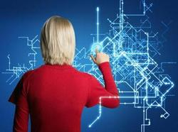Woman Creating Technical Schematic via a Touch Screen Interface