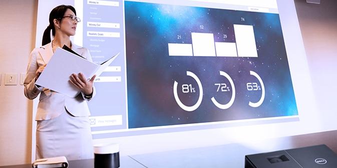 Projetor Dell 1550 - visibilidade abrangente. Visualização luminosa.