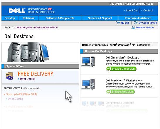 Screenshot from Website