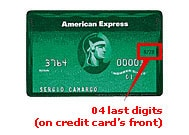 04 last digits (on credit card's cover)