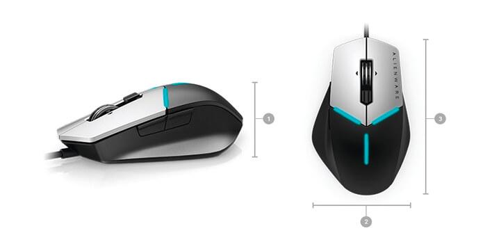 Alienware Advanced 遊戲滑鼠:AW558 | 尺寸與重量