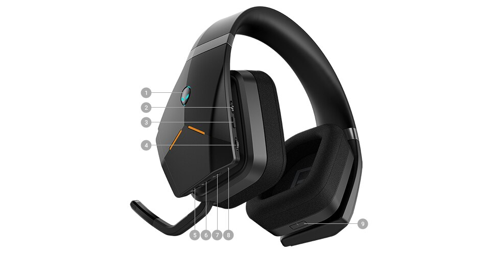 Alienware Wireless Gaming Headset - AW988 | Ports & Slots