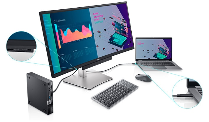 Dell 34-Inch Curved USB-C Monitor: P3421W | Convenient connectivity