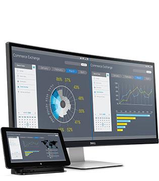 Dell UltraSharp 34 böjd bildskärm - U3415W - Produktion över flera skärmar