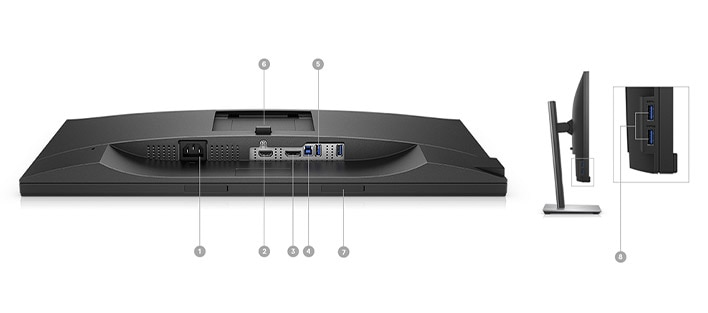 Monitor Dell27: P2418D | Opciones de conectividad