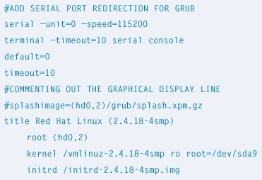 Figure 3. Configuring GRUB for serial port redirection