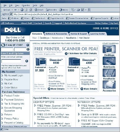 Figure 5. Partially cacheable page on the Dell Web site