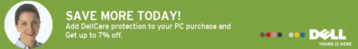 SELECT DELLCARE PROTECTION to save up to 7% off your PC purchase.
