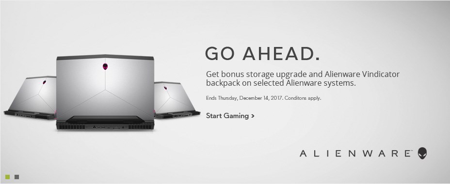 Get bonus storage upgrade and Alienware Vindicator backpack on selected Alienware systems.