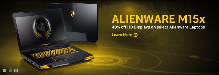 Alienware M15x  - 40% off HD Displays on select Alienware Laptops. | Learn More.
