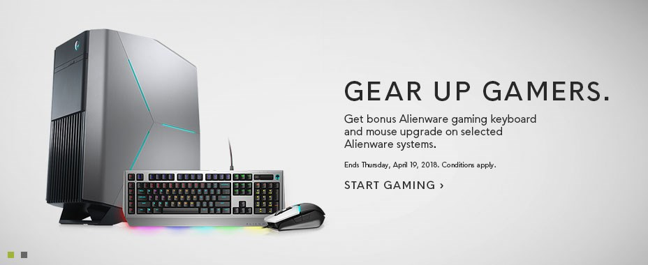 Bonus Alienware keyboard and mouse upgrade on selected Alienware systems.