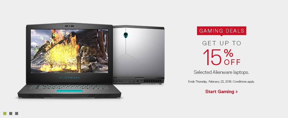 Up to 15% off selected Alienware laptops.