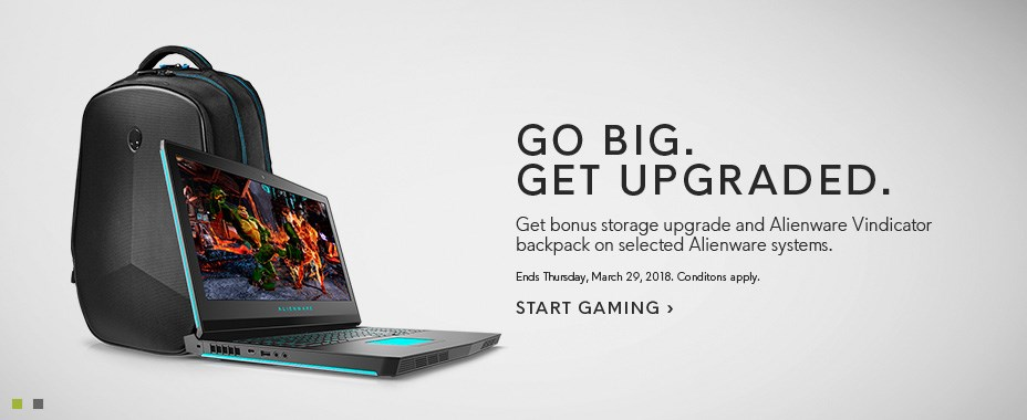 Get bonus storage upgrade on selected Alienware systems.