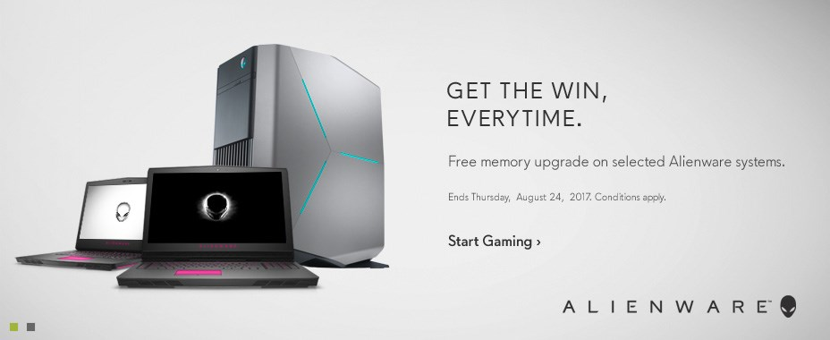 Free memory upgrade on selected Alienware systems.