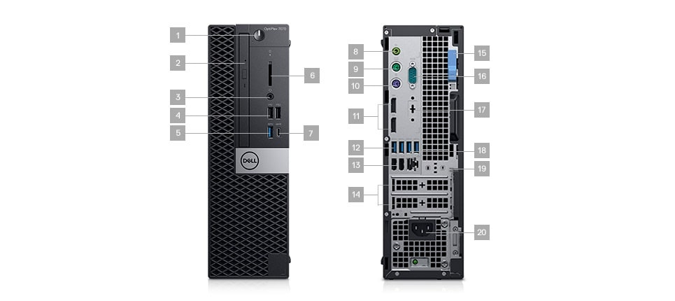 Optiplex-7070-desktop-Ports & Slots–small-form-factor