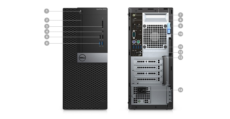 OptiPlex 5050 Tower and Small Form Factor - Ports & Slots – Tower