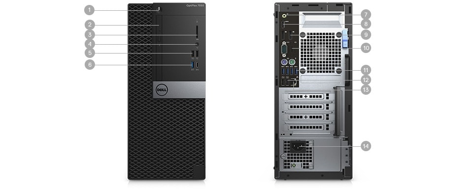 New OptiPlex 7050 Tower & Small Form Factor - Ports & Slots - Tower
