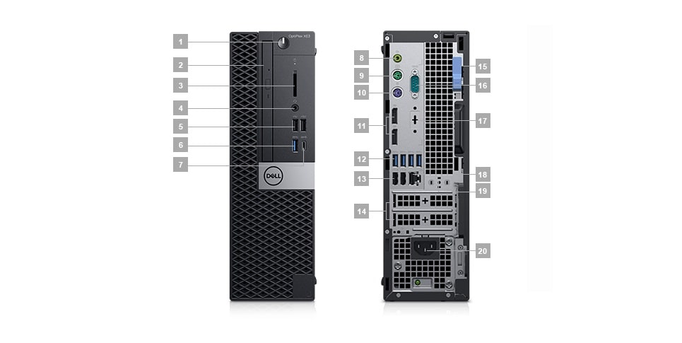 optiplex-xe3 - Ports & Slots – Small Form Factor