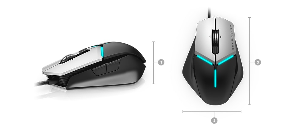 Alienware elite gaming mouse AW958 - Dimensions & Weight