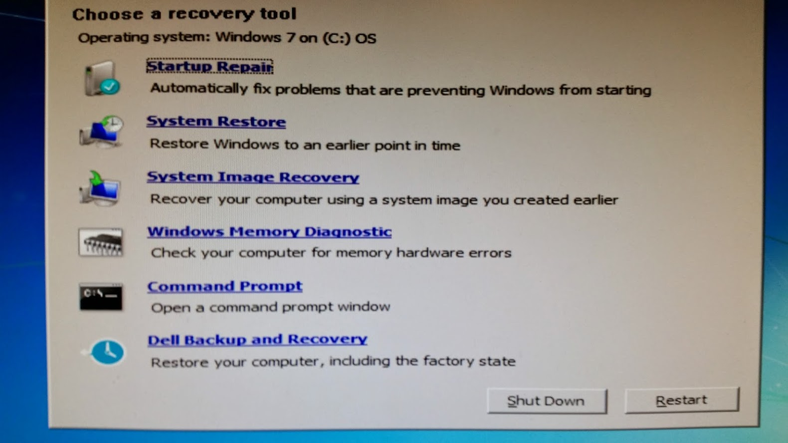 Recovery Options Menu