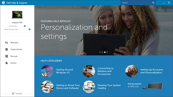 Dell Help and Support screenshot 1