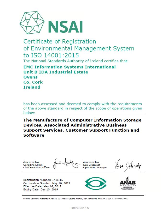 Quality Management System Iso 14001 Dell Emc Cork Ireland Dell