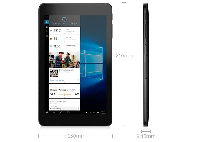 Dimensions and weight - Dell Venue 8 Pro