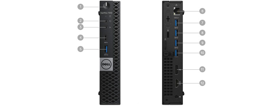 Optiplex 7050 Micro: puertos y ranuras