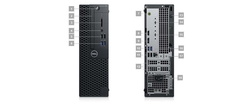 Επιτραπέζιος υπολογιστής OptiPlex 3060 – Θύρες και υποδοχές – Small Form Factor