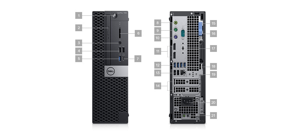 Optiplex 7060 desktop - Ports & Slots - Small Form Factor