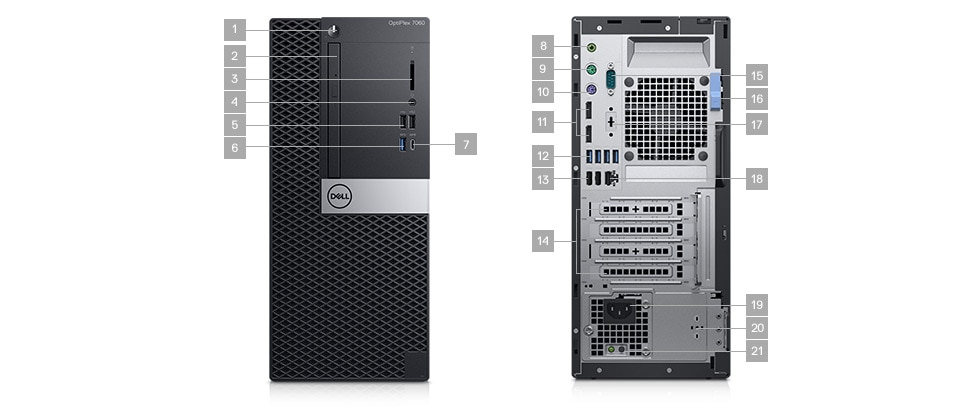 Optiplex 7060 desktop - Ports & Slots - Tower