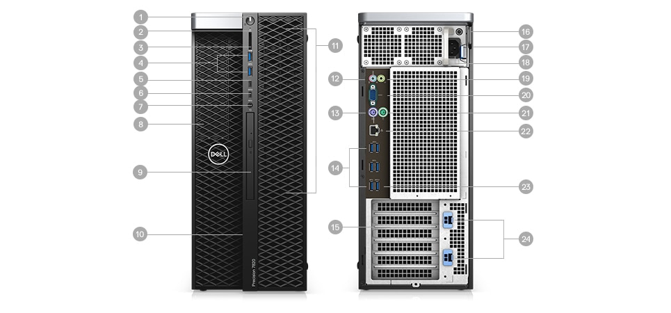 Precision 7820 Tower  - Ports & Slots
