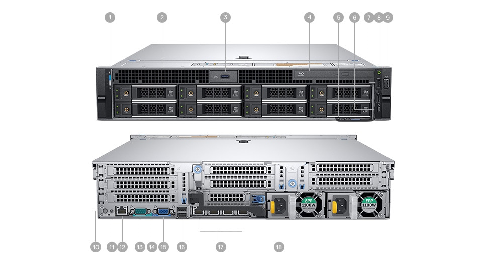 Rack Dell Precision 7920 - Ports et emplacements