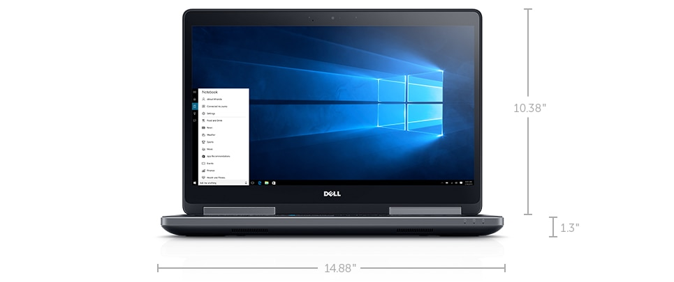 New Dell Precision 15 7000 Series (7510) - Dimensions & Weight (Non-Touch)