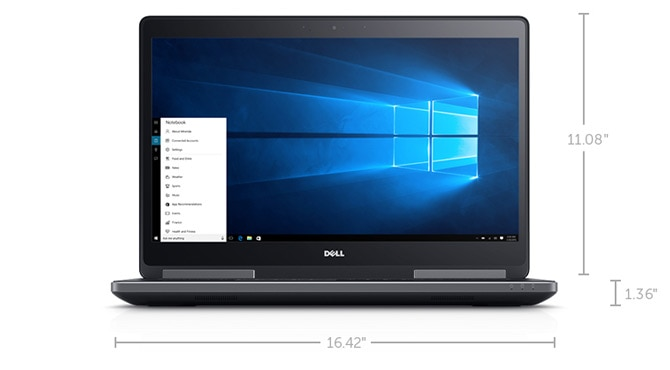 New Dell Precision 15 7000 Series (7710) - Dimensions and Weight (Non-Touch)